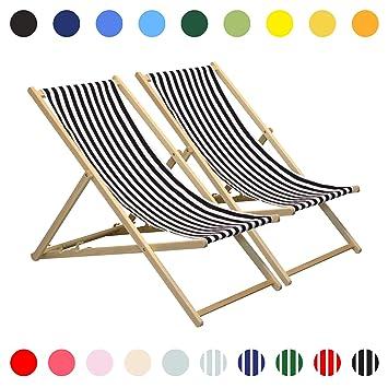 Silla playera ajustable - estilo tradicional para el jardín y la playa - A rayas rojas y blancas - 4 unidades