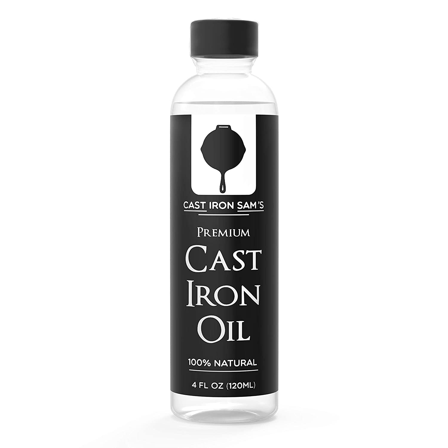 Cast Iron Sam's 100% Natural Cast Iron Seasoning Oil - Clean, Condition, Protect and Care for Your Cookware – Cast Iron Oil for All Iron Pans, Skillets, Griddles, Dutch Ovens, Woks. Light and Preve