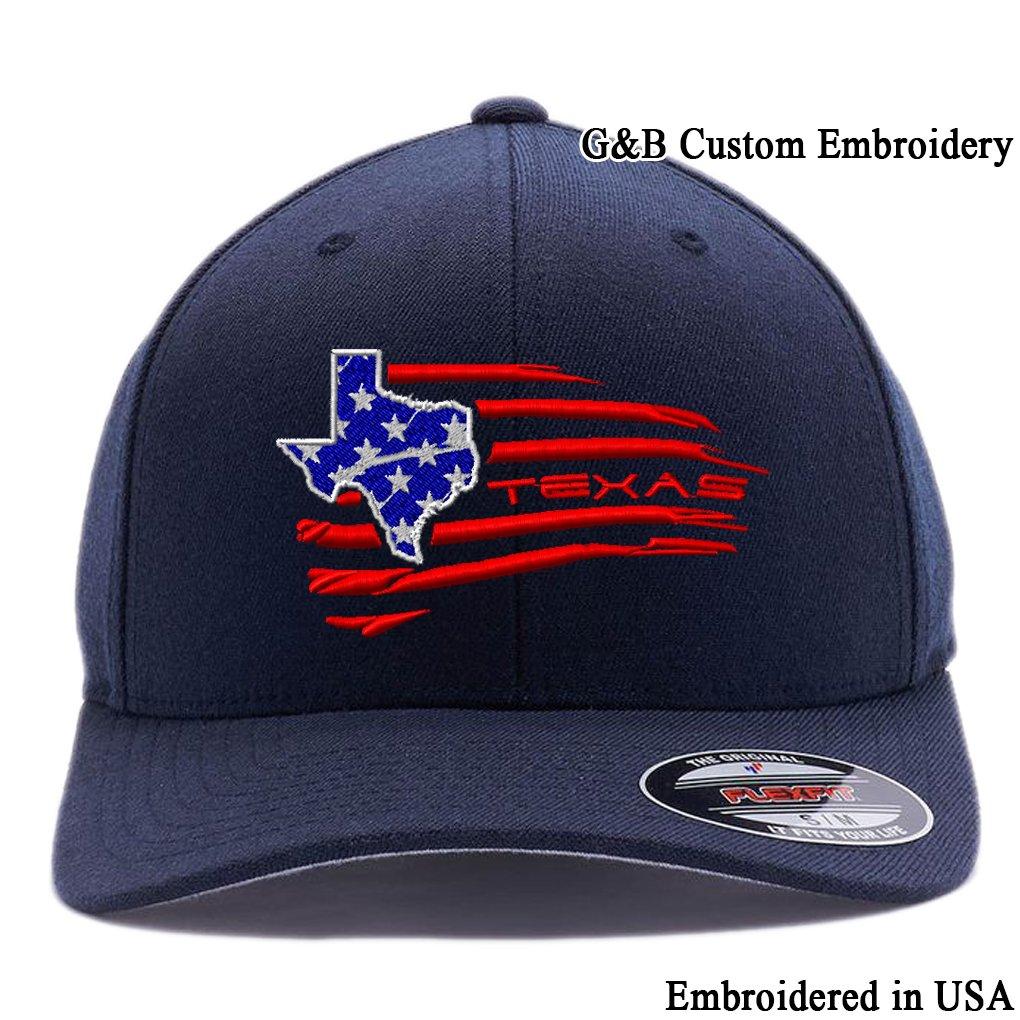 de3cf6957 USA State MAP Hats. Embroidered. 6477 Flexfit Wool Blend (L/XL, Dark Navy)