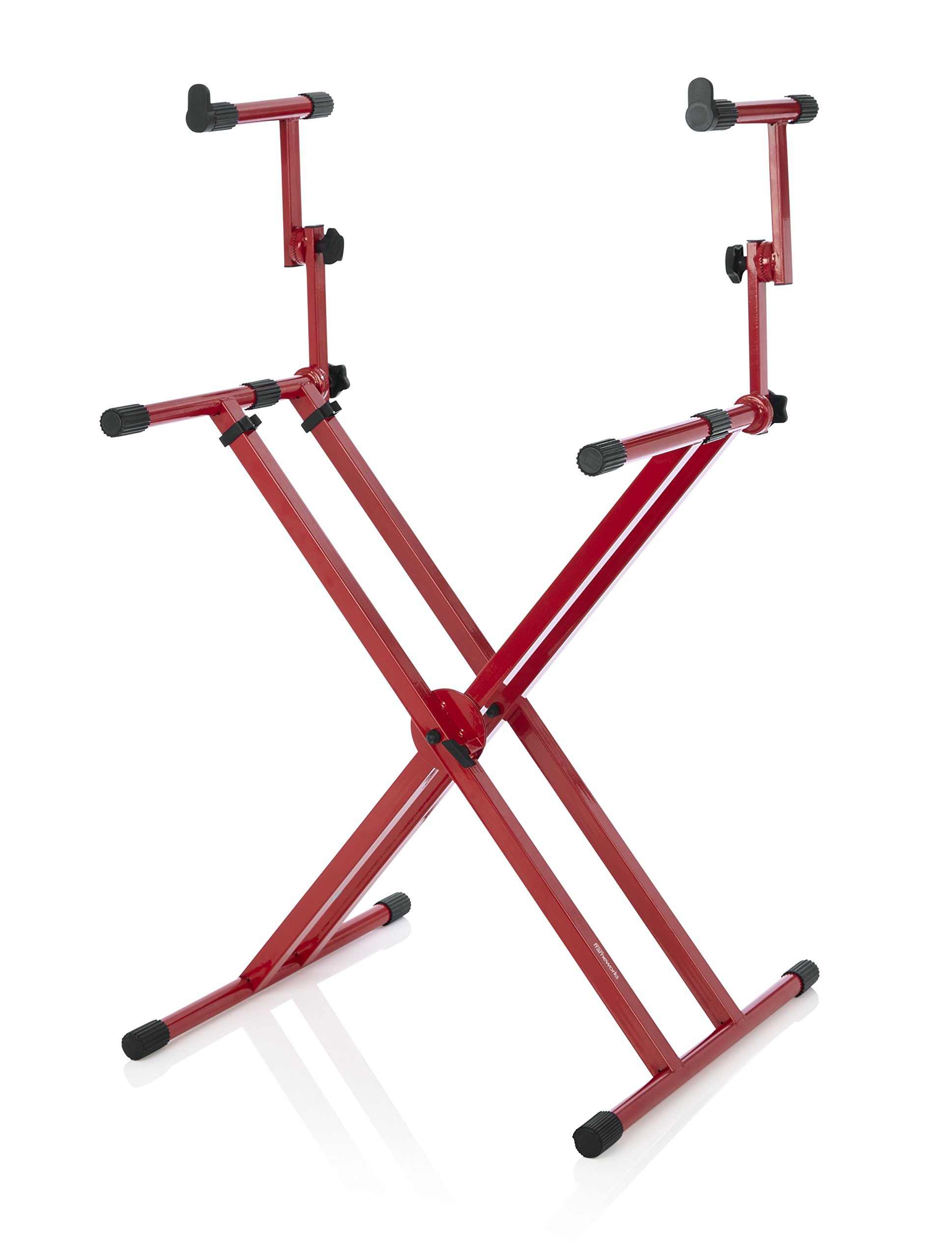 Gator Frameworks GFW-KEY-5100XRED Deluxe Two Tier X Style Keyboard Stand, Nord Red
