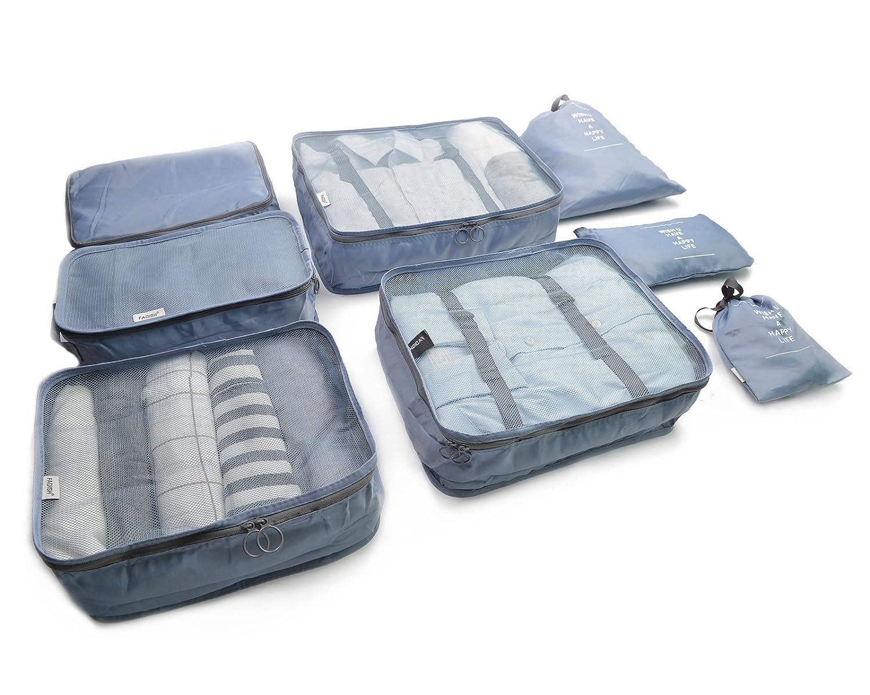 Beschan 8pcs Organisateur de Bagage de Sac Voyage Emballage Cubes Rangement pour Vêtement sous-Vêtement Chaussures Cosmétique (Beige) UMLA000423-BEIGE