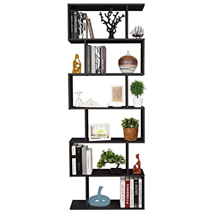 Homfa Bookshelf 6 Tier Bookcase S Shaped Free Standing Display Storage Shelves Decor Furniture For