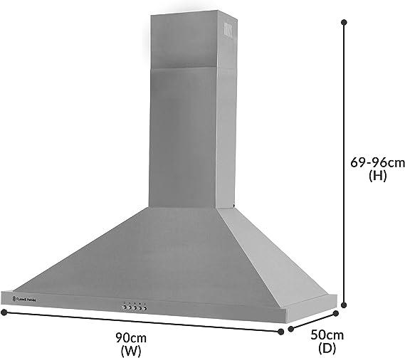 Russell Hobbs RHSCH901SS - Campana de cocina (90 cm de ancho, 5 funciones, acero inoxidable): Amazon.es: Grandes electrodomésticos