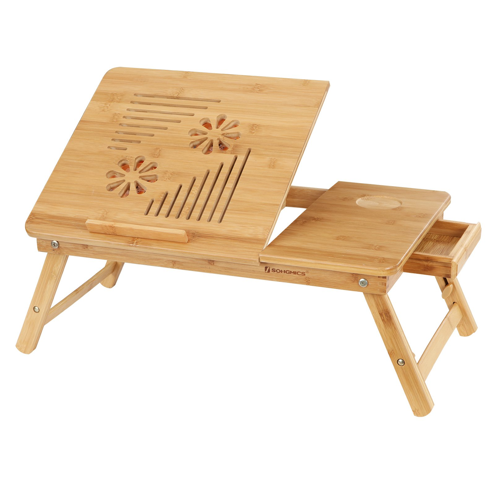 SONGMICS Bamboo Laptop Desk Serving Bed Tray (with USB Fan)