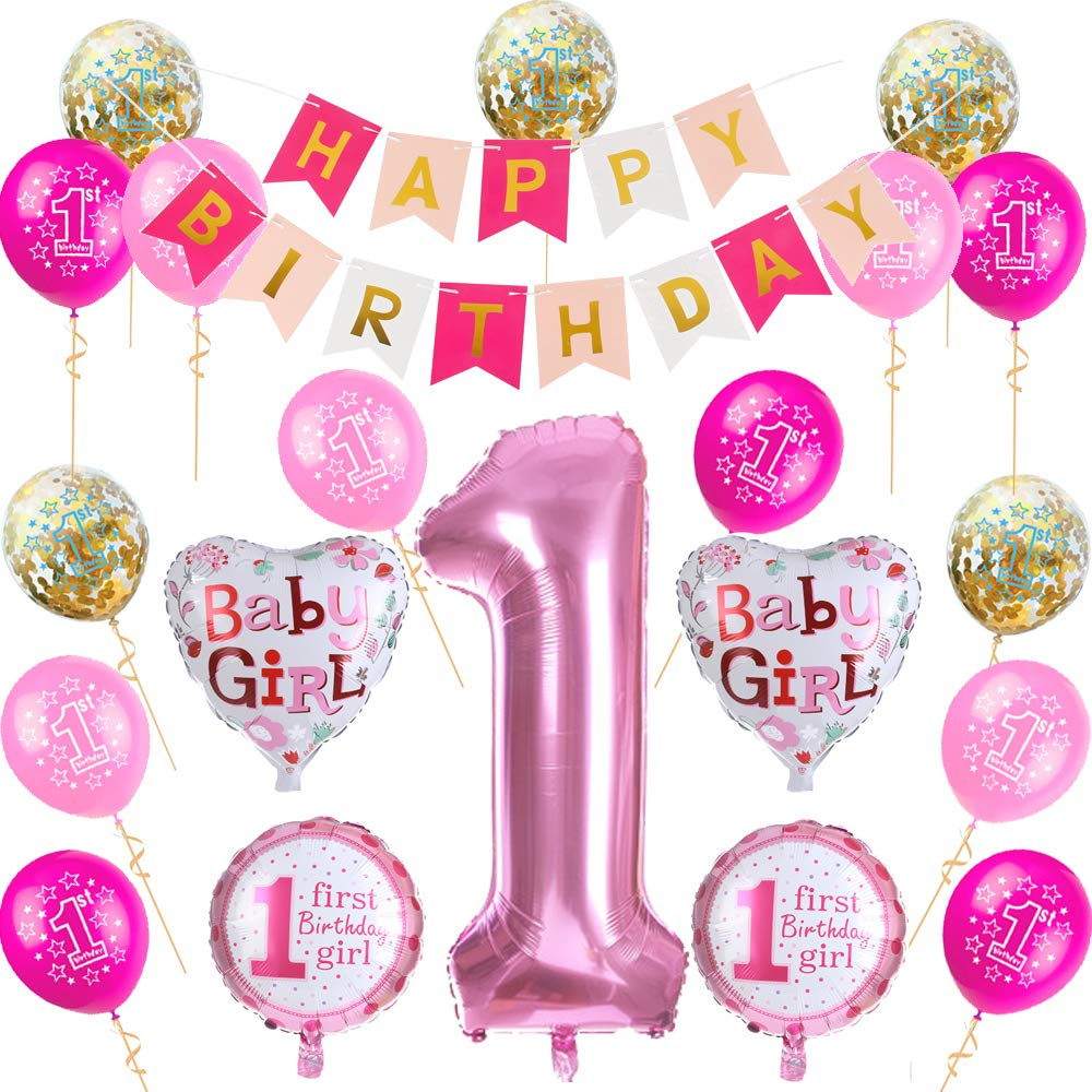 Nvetls 1st Birthday Decorations for Girls and Boys Birthday Decorations Party Balloons Set Baby Girl and Baby Boy (Pink)