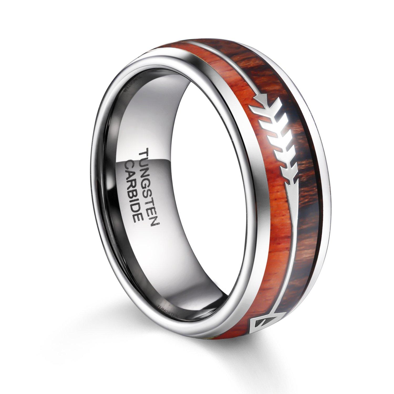 Tusen Jewelry Mens Tungsten Ring Koa Wood Arrows Inlay Wedding Band 8mm Amazon: Koa Inlay Wedding Ring At Websimilar.org