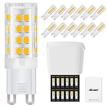 DiCUNO Bombillas LED G9 De 4W Equivalentes A Bomlillas Halógenas De 40W, Blanca cálida 3000k