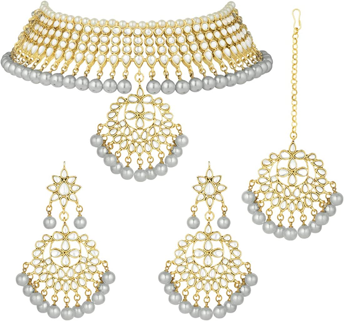 Party Wear Pendant Studs Handmade Jewellery Set White Pearls Indian Jewelry Kundan Pendant Earrings Set