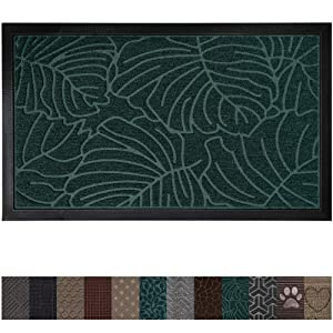 Gorilla Grip Original Durable Rubber Door Mat, 29 x 17, Heavy Duty Doormat, Indoor Outdoor, Waterproof, Easy Clean, Low-Profile Rug Mats for Entry, Garage, Patio, High Traffic Areas, Green Palm