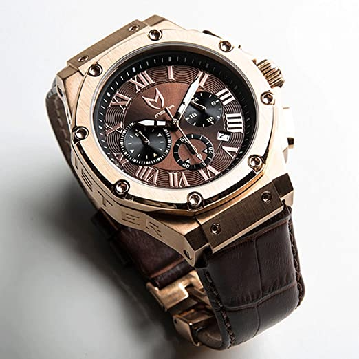 e18e44f3eb Meister AM137CB Ambassador Rose Gold / Brown with Croc Leather Band Watch:  Amazon.co.uk: Watches
