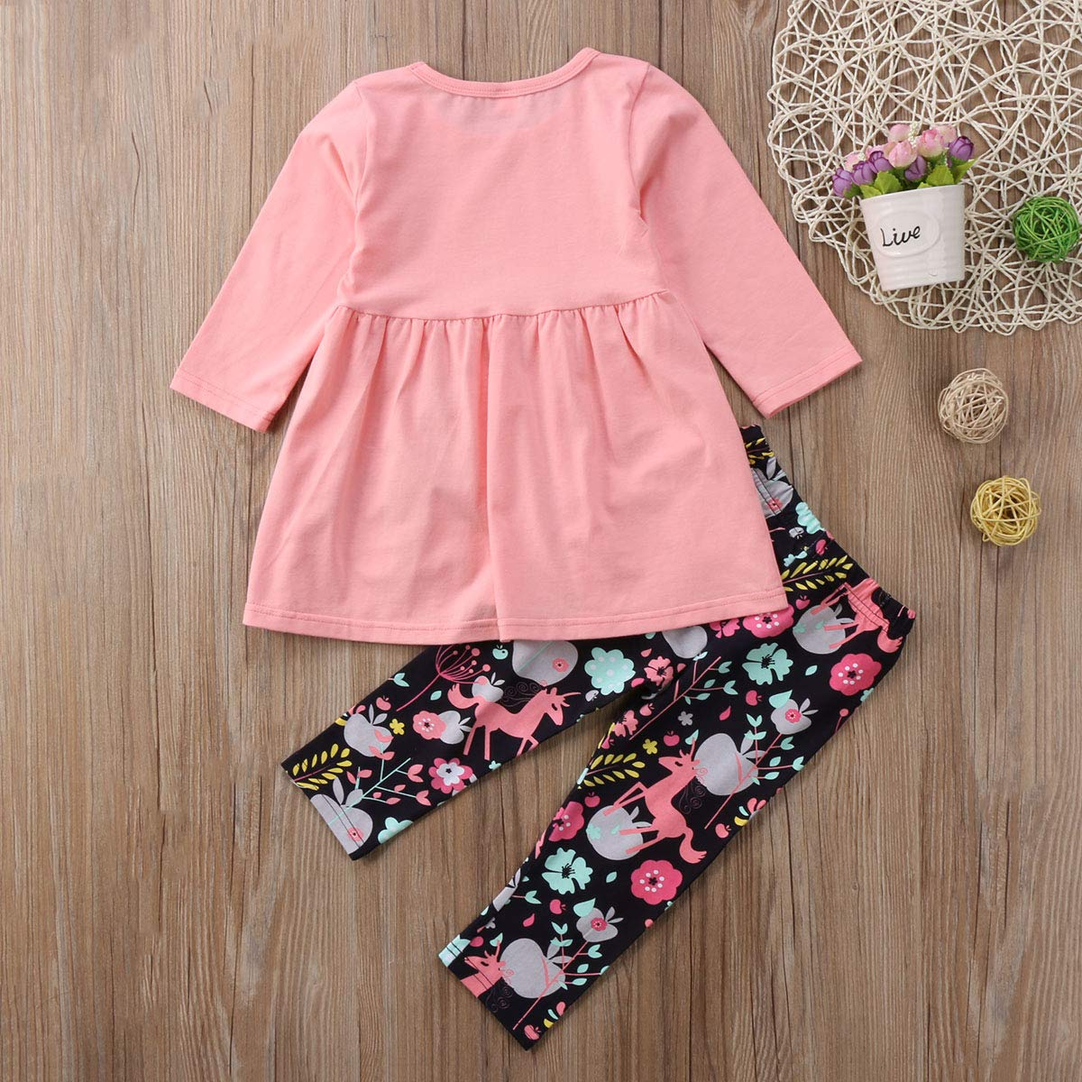 Toddler Little Girls Ruffle Flare Tunic Dress Top Striped Leggings Pants 2PC Fall Winter Outfit Set Clothes