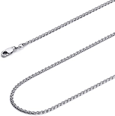 """Guaranteed 14K White Gold Wheat Chain Necklace 1.5mm 16/""""-24/"""""""
