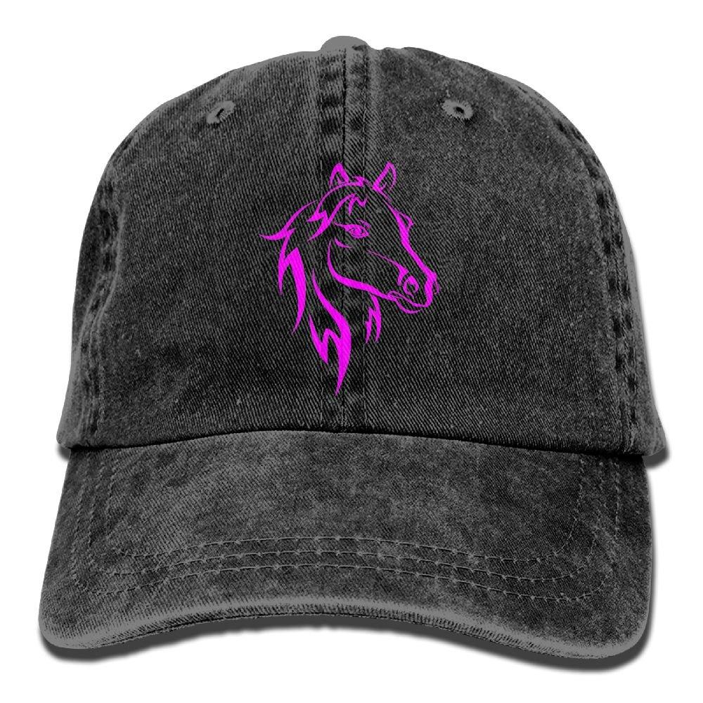 Horse Bold Color Plain Adjustable Cowboy Cap Denim Hat for Women and Men