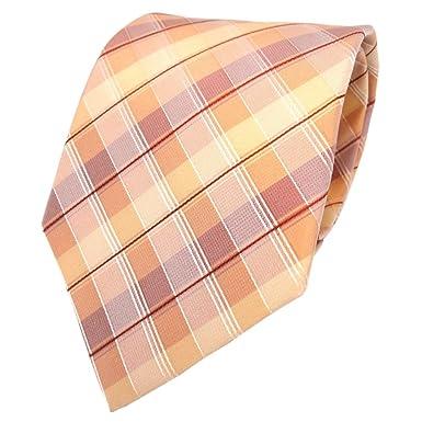 Corbata de seda - naranja amarillo rojo plata a cuadros: Amazon.es ...