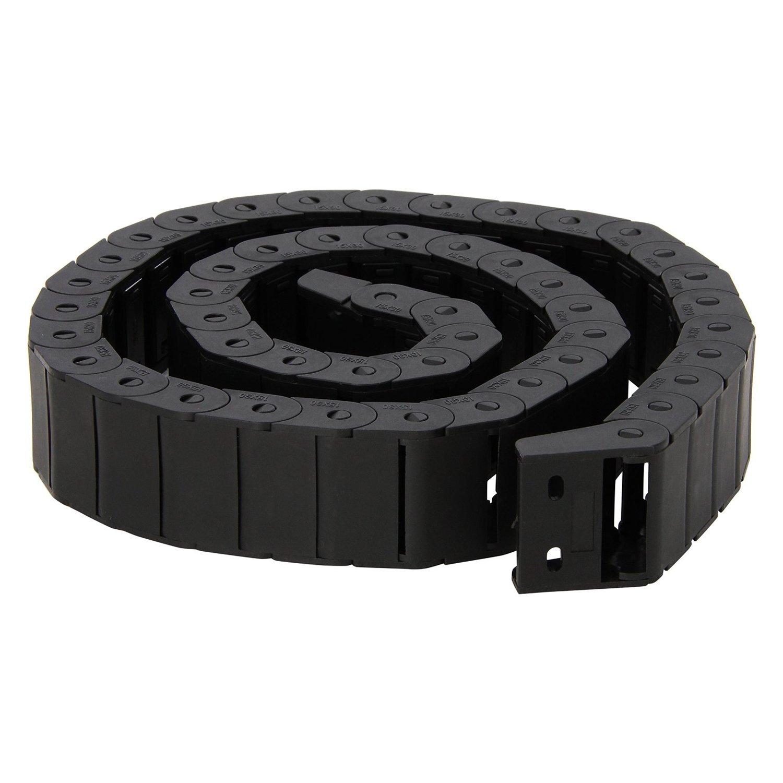 R Schwarz Kabelschleppkette 15 x 30 mm 1 m Draht Schleppkette SODIAL halb geschlossen