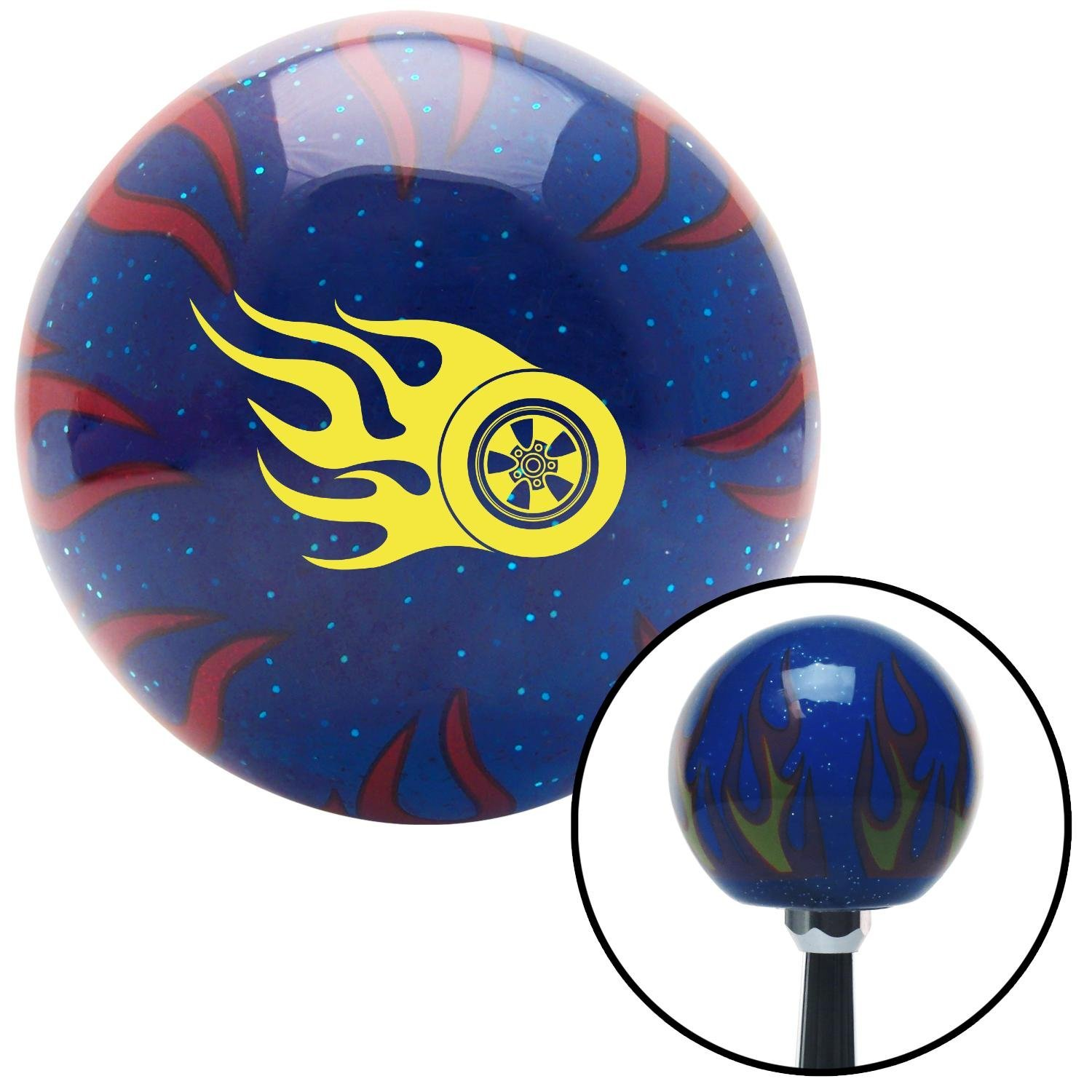 American Shifter 244263 Blue Flame Metal Flake Shift Knob with M16 x 1.5 Insert Yellow Wheel On Fire