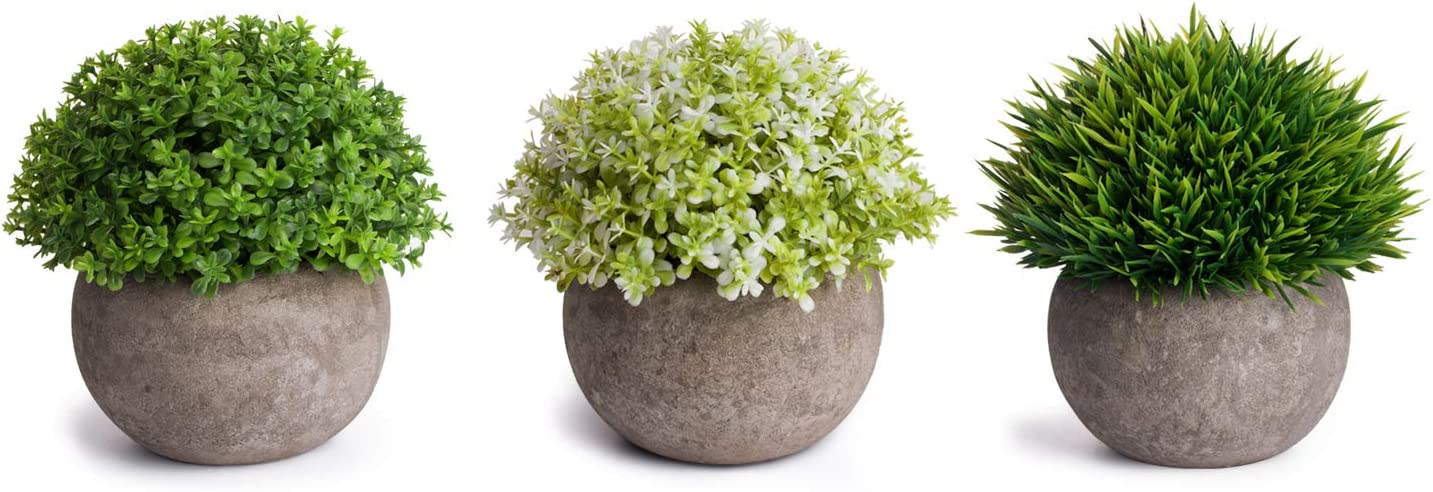 MoonLa Artificial Plants Potted Faux Fake Mini Plant Greenery Green Grass Flower Topiary Shrubs In Gray Pot for Bathroom Home House Decor (Set of 3) -