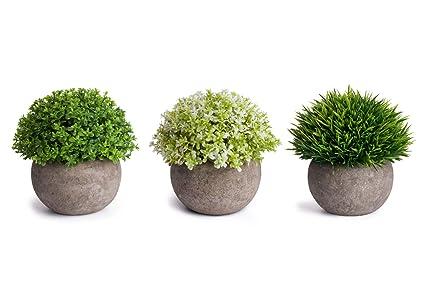 Amazon Com Moonla Artificial Plants Potted Faux Fake Mini Plant