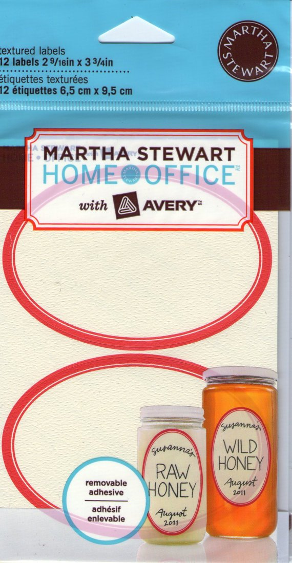 "Martha Stewart Home Office with Avery Textured Labels, Eggshell, RED Border, Oval, 2-9/16"" x 3-3/4"", Pack of 12"