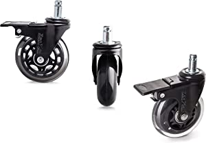 5 Piece 3'' Heavy Duty Quiet Swivel Replacement Office Chair Caster Wheels with Brakes/Locks - Roller Blade Style -Made from Soft Premium PU Rubber - Protects + Works on Carpet Hardwood + Tile Floor.