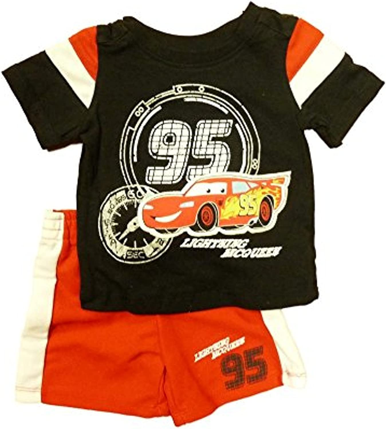 Disney Cars Infant Boys Black /& Red 2 Piece Mesh Shorts /& T-Shirt Set