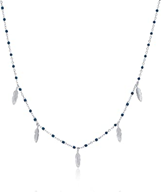 Flamingo Feather Tiny Blue Gray Cubic Zirconia Silver Pendant Necklace Jewelry