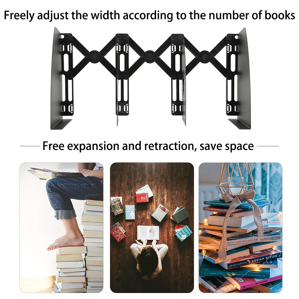 Black Bookends PINREK Book Stand Retractable Book Holder Metal Iron Adjustable Nonslip DIY Design Bookshelf for Students Bedroom Library Office School Supplies Stationery Gift