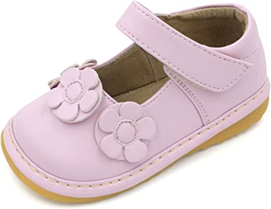 Girl/'s Brown with Pink Polka Dots Leather Toddler Squeaky Shoes Sizes 1 to 7