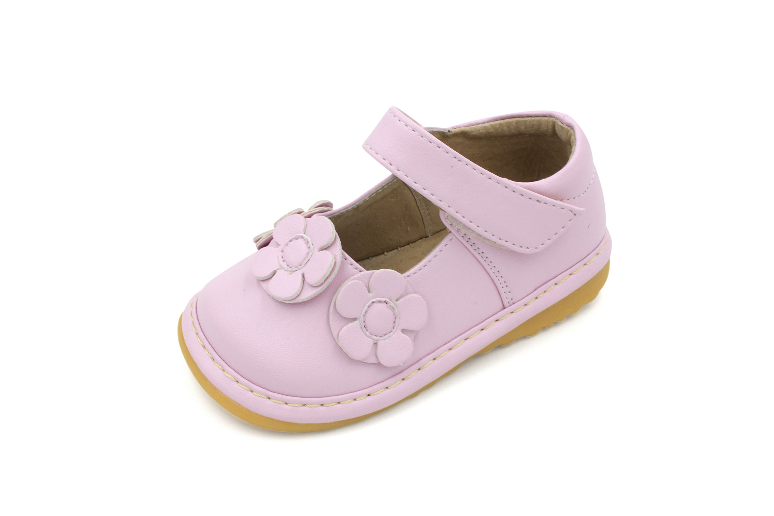 Little Mae's Boutique Squeaky Shoes | Light Pink Three Flower Mary Jane Toddler Girl Shoes (6)
