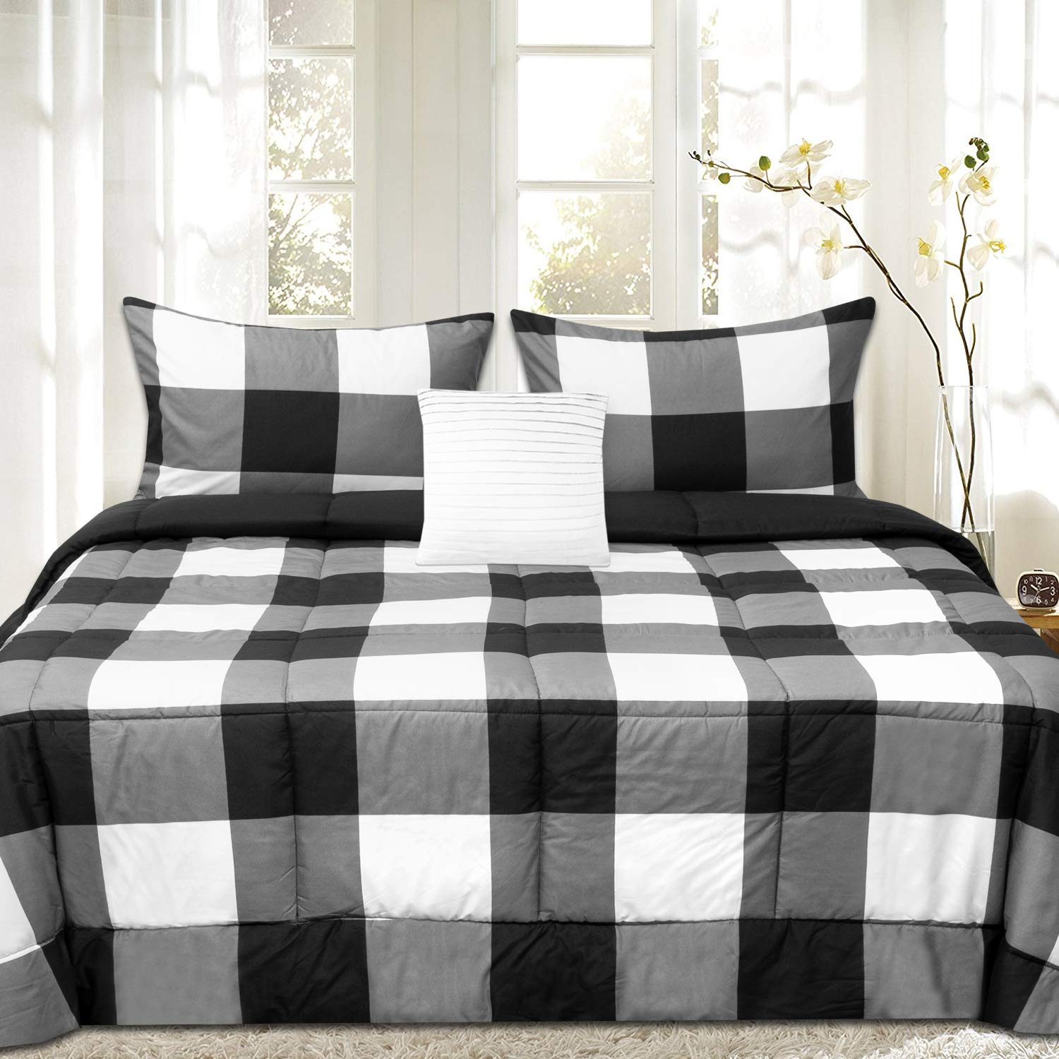 Sweet Home Collection Comforter Set 4 Piece Buffalo Check Plaid Design Soft and Luxurious All Season Warmth Down Alternative Reversible to Solid Color with 2 Shams & Throw Pillow, King, Black/White