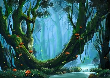 amazon com leowefowa 7x5ft fairytale mushroom backdrop jungle