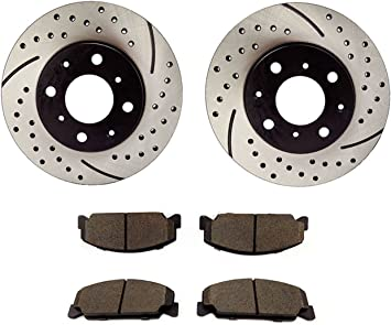 Amazon Com Atmansta Qpd10007 Front Brake Kit With Drilled Slotted Rotors And Ceramic Brake Pads For Honda Civic Automotive