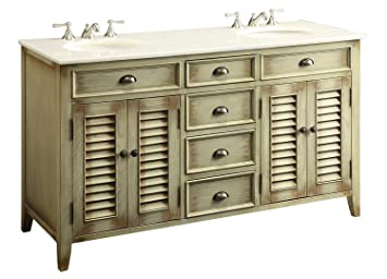 Modetti MOD884BE 60 Palm Beach Cottage Beach Distressed Look Double Sink Bathroom  Vanity Cabinet In