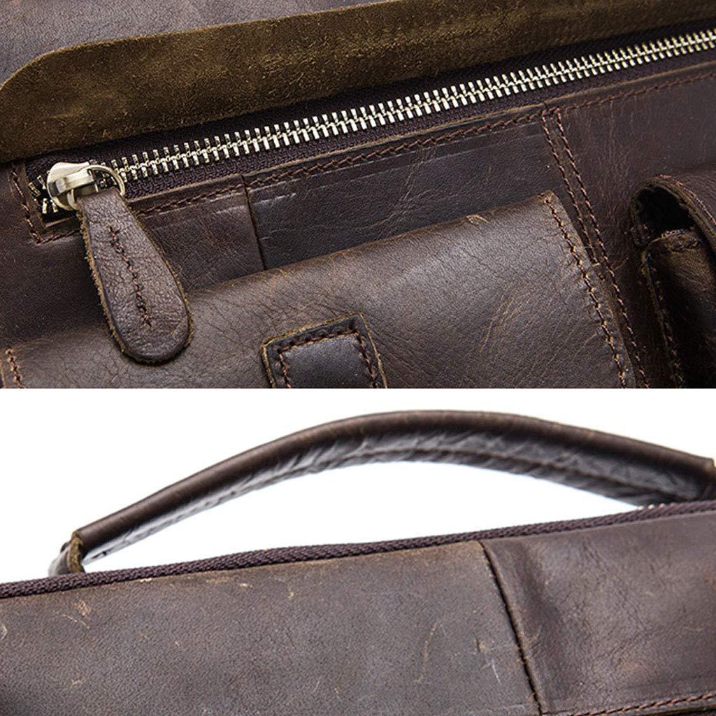 Leather Large Capacity Shoulder Tote Color : Brown, Size : L Business Travel Computer Bag Mens Vintage Briefcase