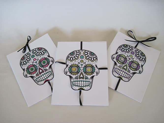 Amazon handmade creative blank day of the dead candy skull handmade creative blank day of the dead candy skull greeting 3 card box set gift on m4hsunfo