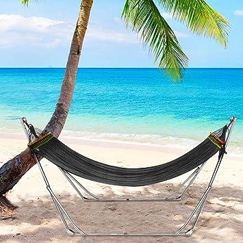 UNHO Hamaca con Soporte Plegable Hamaca Colgante para Jardín Exterior Interior Viaje Camping con Bolsa de Almacenamiento Capacidad de Carga 200kg Color Negro: Amazon.es: Deportes y aire libre