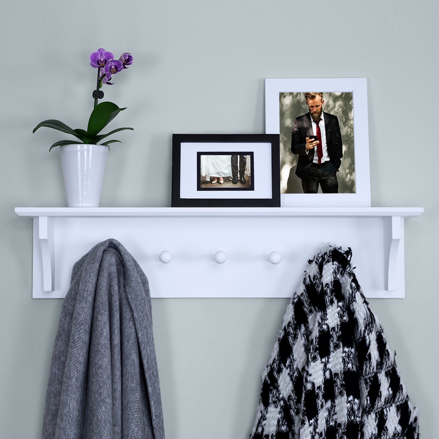 Ballucci Floating Coat and Hat Wall Shelf Rack, 5 Pegs Hook, 24, White 24