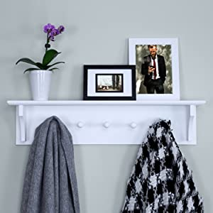 """Ballucci Floating Coat and Hat Wall Shelf Rack, 5 Pegs Hook, 24"""", White"""