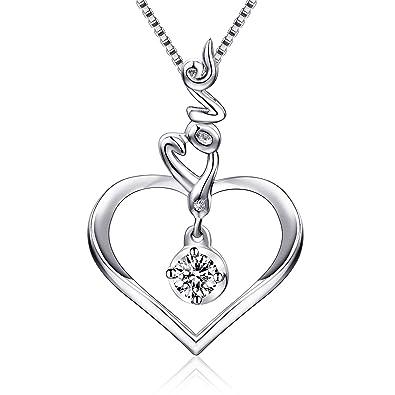 51d0548ac285 S925 plata de ley Love guión corazón colgante collar joyería regalos para  las mujeres