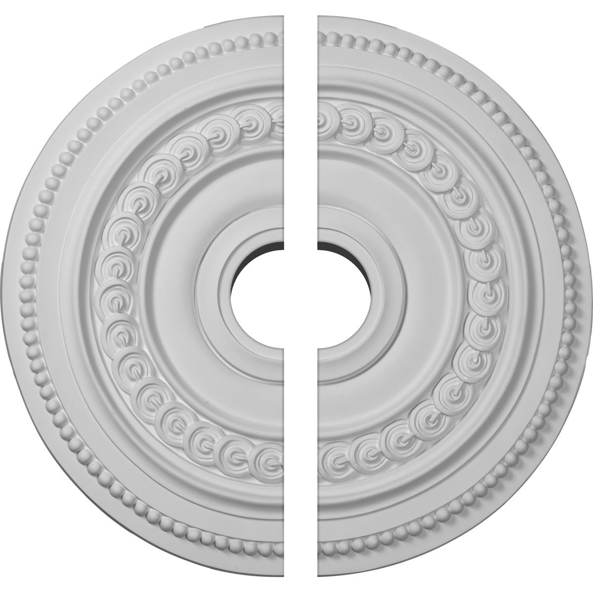 Ekena Millwork CM18OL2-03500 18''OD x 3 1/2''ID x 1 1/4''P Oldham Ceiling Medallion, Two Piece (Fits Canopies up to 8 5/8''), Factory Primed and Ready to Paint