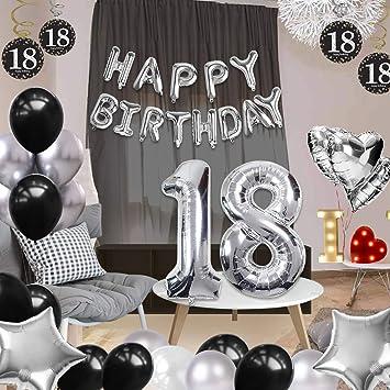 Coolba Globos Decoración de Cumpleaños de 18 años, Silver y ...