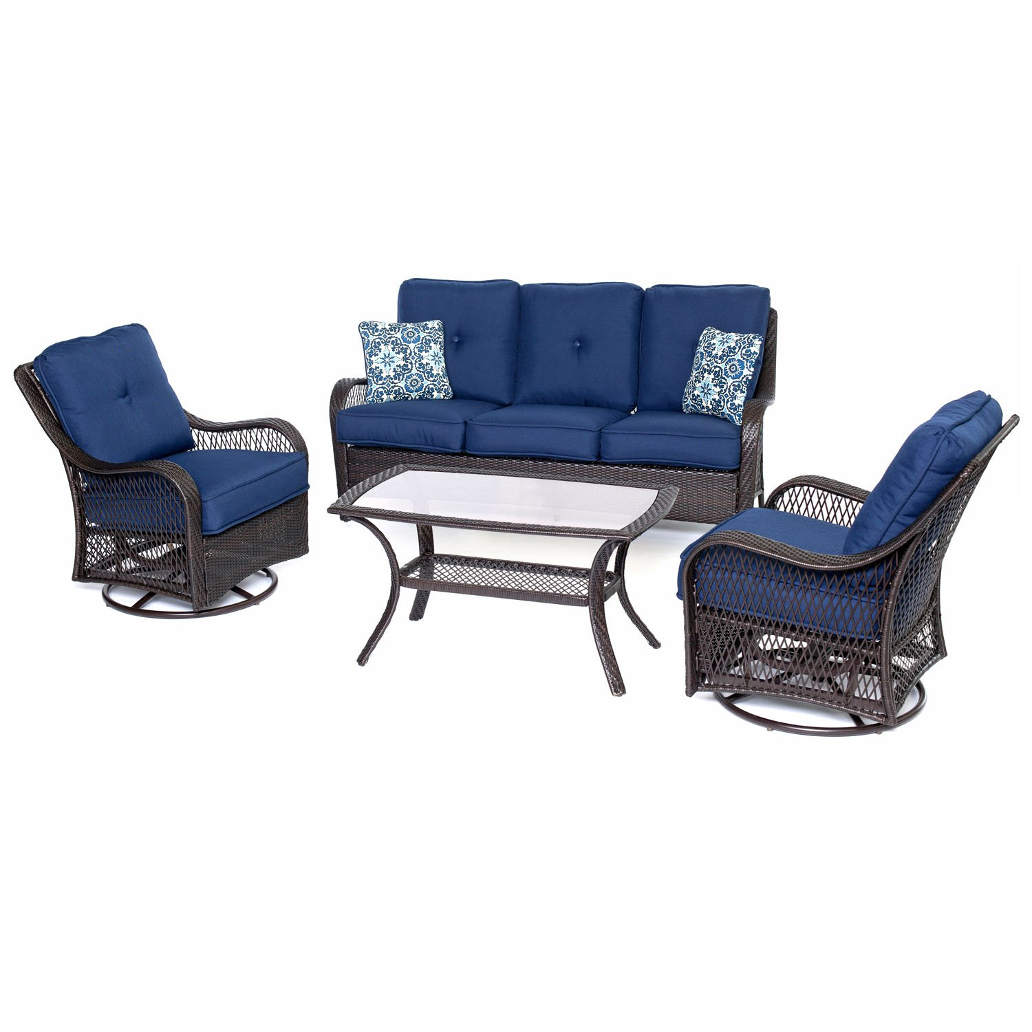 amazoncom brentwood wicker 4 piece outdoor seating set 2 swivel gliders 1 loveseat cushions and 1 coffee table with navy blue cushions patio - Swivel Patio Chairs