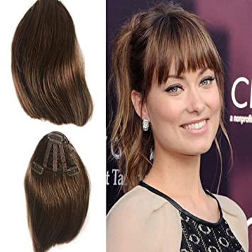 Amazon Com Clip In Bangs Hair Extensions Mid Brown Hand Tied
