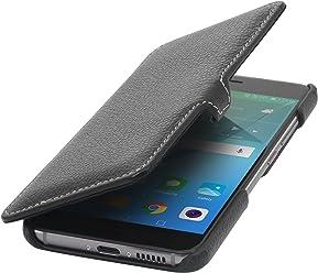 StilGut Book Type avec Clip, Housse en Cuir pour Huawei Nova. Etui de Protection à Ouverture latérale avec Fermeture clipsée, Noir