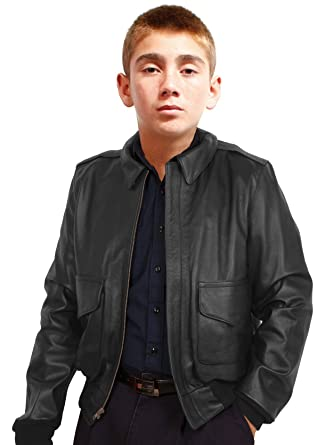 cc0282a8ad2f Amazon.com  Kids A2 Air Force Leather Bomber Jacket  Clothing