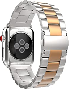 MoKo Compatible Band Replacement for Apple Watch 42mm 44mm Series 5/4/3/2/1, Stainless Steel Replacement Smart Watch Band with Double Button Folding Clasp - Silver&Rose Gold(Not Fit iWatch 38mm 40mm)