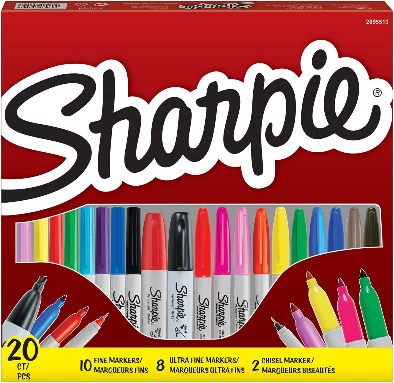 Sharpie Pack - 20 unidades, Rotuladores punta fina y biselada ...