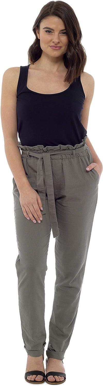 CityComfort Pantalones De Lino para Mujer | Pantalón De Verano con Cintura De Bolsa De Papel De Moda | Pantalones Mujer con Estilo Elegante Y Casual | Tallas Pequeñas, Medianas Y Grandes EU 38 A 52