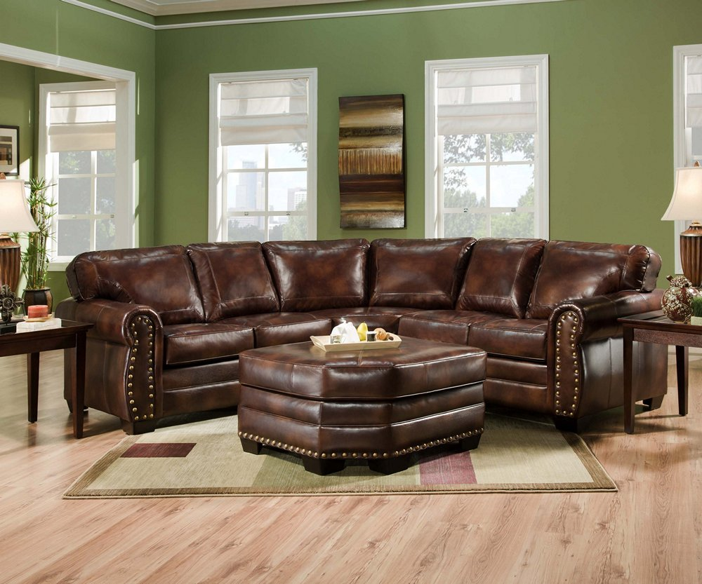 Amazoncom Simmons 9222dn Encore Brown Leather Sectional Sofa
