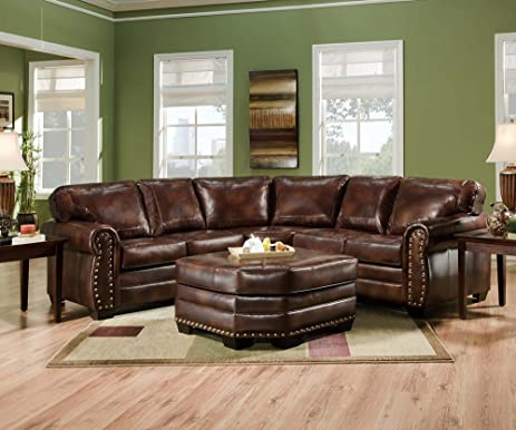 SIMMONS 9222DN ENCORE BROWN LEATHER SECTIONAL SOFA OTTOMAN NAILHEADS : amazon sofa sectionals - Sectionals, Sofas & Couches